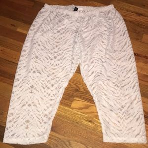White Lace Zebra Print Cropped Leggings